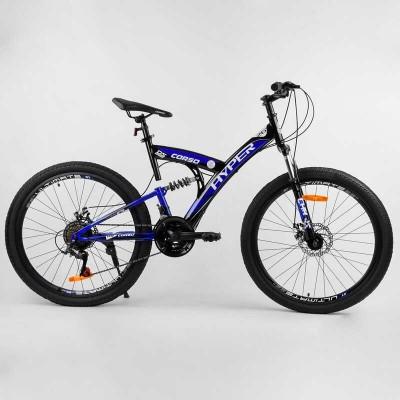 """Велосипед Спортивный CORSO «Hyper» 26"""" дюймов 96203 (1) рама металлическая 16'', SunRun 21 скорость, собран на 75"""