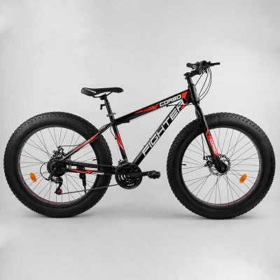 """Велосипед Спортивный Corso «FIGHTER» 26"""" дюймов 96405 (1) ФЭТБАЙК, рама стальная 15'', SunRun 21 скорость, собран на 75"""