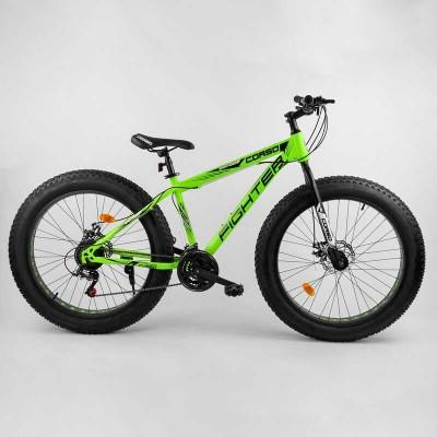 """Велосипед Спортивный Corso «FIGHTER» 26"""" дюймов 40953 (1) ФЭТБАЙК, рама стальная 15'', SunRun 21 скорость, собран на 75"""