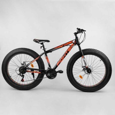 """Велосипед Спортивный Corso «FIGHTER» 26"""" дюймов 78818 (1) ФЭТБАЙК, рама стальная 15'', SunRun 21 скорость, собран на 75"""