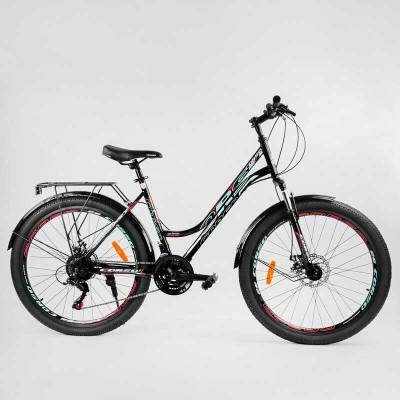 """Велосипед Спортивный CORSO «URBAN» 26"""" дюймов 97011 (1) рама металлическая 18``, SunRun 21 скорость, крылья, багажник, собран на 75"""