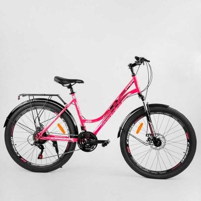 """Велосипед Спортивный CORSO «URBAN» 26"""" дюймов 69052 (1) рама металлическая 18``, SunRun 21 скорость, крылья, багажник, собран на 75"""