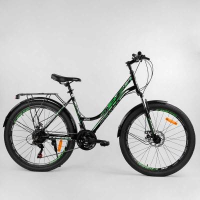 """Велосипед Спортивный CORSO «URBAN» 26"""" дюймов 78922 (1) рама металлическая 18``, SunRun 21 скорость, крылья, багажник, собран на 75"""