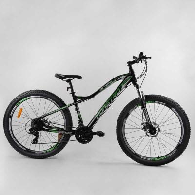 """Велосипед Спортивный CORSO «Monstro» 27.5"""" дюймов 58455 (1) ПОЛУФЭТБАЙК, рама алюминиевая, оборудование Shimano 21 скорость, собран на 75"""