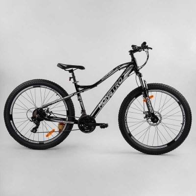 """Велосипед Спортивный CORSO «Monstro» 27.5"""" дюймов 53785 (1) ПОЛУФЭТБАЙК, рама алюминиевая, оборудование Shimano 21 скорость, собран на 75"""