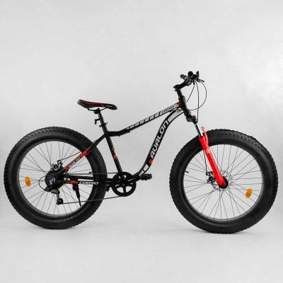 """Велосипед Спортивный CORSO «Avalon» 26"""" дюймов 21085 (1) ФЭТБАЙК, рама алюминиевая, оборудование Shimano 7 скоростей, собран на 75"""