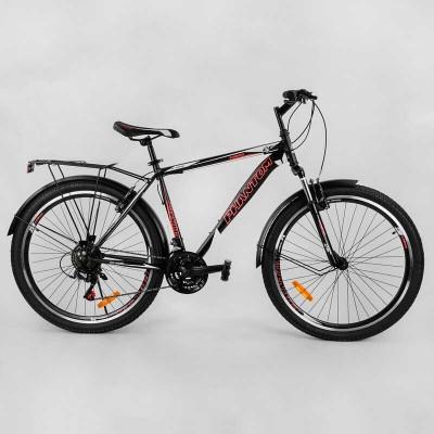 """Велосипед Спортивный CORSO «Phantom» 26"""" дюймов 23397 (1) рама металлическая, SunRun 21 скорость, крылья, багажник, собран на 75"""