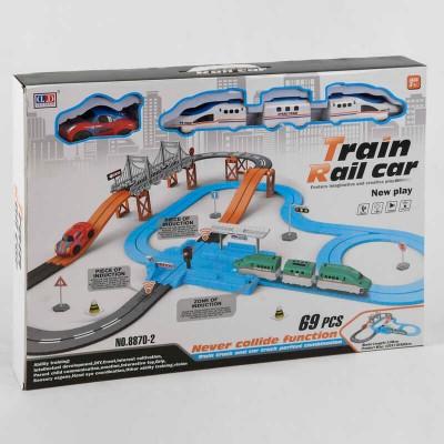 """Железная дорога 8870-2 (12) """"Экспресс"""", на батарейках, 69 элементов, длина путей 538 см, 2 локомотива, машинка, звук, свет, аксессуары, в коробке"""