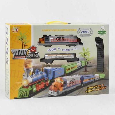 """Железная дорога 2018 А (24) """"Грузовой поезд"""", на батарейках, 24 детали, длина путей 147 см, 2 вагона, свет, звук, в коробке"""