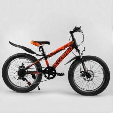 Детский спортивный велосипед 20'' CORSO «AERO» 82021 (1) ПОЛУФЭТ, стальная рама 11.5``, передний переключатель Shimano, задний Saiguan, 7 скоростей