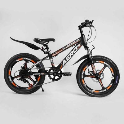 Детский спортивный велосипед 20'' CORSO «AERO» 22017 (1) стальная рама, оборудование Saiguan, 7 скоростей, литой диск, собран на 75