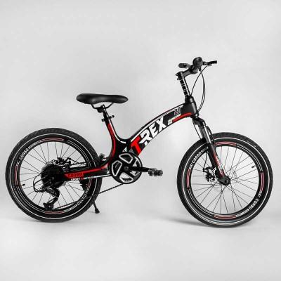 Детский спортивный велосипед 20'' CORSO «T-REX» 41777 (1) магниевая рама, оборудование MicroShift, 7 скоростей, собран на 75