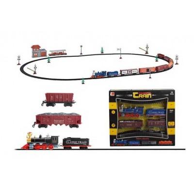 Железная дорога 3019 А (18) на батарейках, 76 деталей, локомотив со светом и звуком, вагон, коврик, фигурка животного, декорации, в коробке