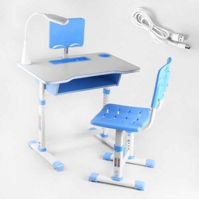 Парта со стульчиком C 44557 (1) ЦВЕТ ГОЛУБОЙ, лампа USB, регулируемая высота и угол наклона столешницы