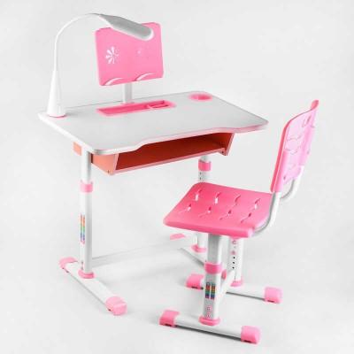 Парта со стульчиком C 44557 (1) ЦВЕТ РОЗОВЫЙ, лампа USB, регулируемая высота и угол наклона столешницы