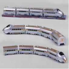 """Поезд 757 Р (24) """"Пассажирский экспресс"""", на батарейках, 3 вагона, подсветка, объезжает препятствия, в слюде"""