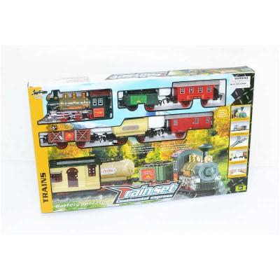 """Железная дорога 1209 (12)""""Классический грузовой паровоз"""", на батарейках, 18 элементов, длина путей 135 см, 5 вагонов, звук, свет, станция, в коробке"""