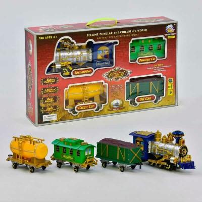 """Паровоз 2413 (18) """"Классический"""", на батарейках, 3 вагона, дым, звук, свет прожектора, объезжает препятствия, в коробке"""