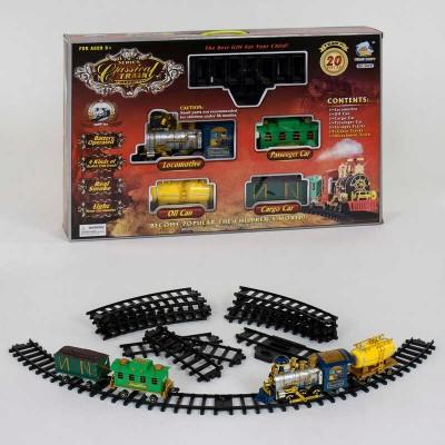 """Железная дорога 2417 (8) """"Грузо-пассажирский паровоз"""", на батарейках, 20 элементов, длина путей 206 см, 3 вагона, дым, звук, свет прожектора"""