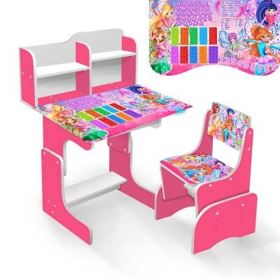 """гр Парта школьная """"Феи Винкс"""" ЛДСП ПШ 023 (1) 69*45 см., цвет розовый, + 1 стул"""