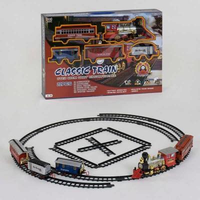 """Железная дорога 191 (12) """"Грузо-пассажирский паровоз"""", на батарейках, 22 элемента, длина путей 600 см, 4 вагона, дым, звук, свет прожектора, в коробке"""