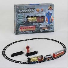 """Железная дорога на р/у 39 (18/2)""""Пассажирский паровоз"""", на батарейках, 30 элементов, длина путей 420 см, 2 вагона, звук, свет прожектора, в коробке"""