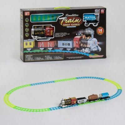 """Железная дорога 3367-3366 (12) """"Грузовой паровоз"""", на батарейках, 14 элементов, длина путей 135 см, 3 вагона, дым, звук, свет прожектора, в коробке"""