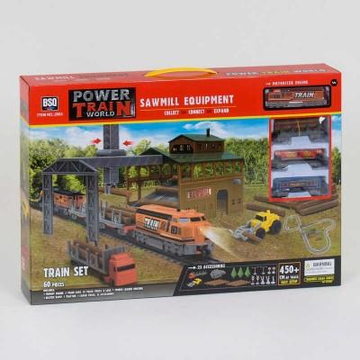 """Железная дорога 2083 (12/2)""""Грузовой поезд"""", на батарейках, 60 элементов, длина путей 450 см, 3 вагона, 2 спецтехники, свет, аксессуары, в коробке"""