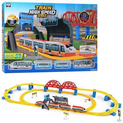 """Железная дорога 789-2 (8/2) """"Скоростной поезд"""", на батарейках, 59 элементов, длина путей 473 см, 2 локомотива, звук, свет, аксессуары, в коробке"""