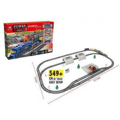 """Железная дорога 2084 (8/2) """"Погрузочная станция"""", на батарейках, 53 элемента, длина путей 549 см, 4 вагона, 4 машинки, свет, аксессуары, в коробке"""