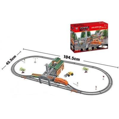 """Железная дорога 20821 (12/2) """"Лесовоз"""", на батарейках, 45 элементов, длина путей 300 см, 2 вагона, свет, погрузочная станция, аксессуары, в коробке"""