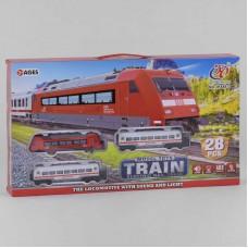 """Железная дорога JHX 8812 (24/2) """"Пассажирский поезд"""", на батарейках, 28 элементов, 3 вагона, звук, подсветка, аксессуары, в коробке"""