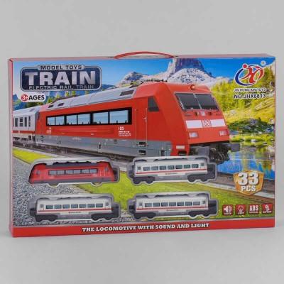 """Железная дорога JHX 8813 (24/2) """"Пассажирский поезд"""", на батарейках, 33 элемента, 3 вагона, звук, свет, аксессуары, в коробке"""