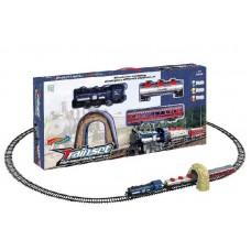 """Железная дорога 2212-10 (36/3) """"Паровоз"""", на батарейках, 21 элемент, длина путей 1,45 см, 2 вагона, звук, туннель, в коробке"""