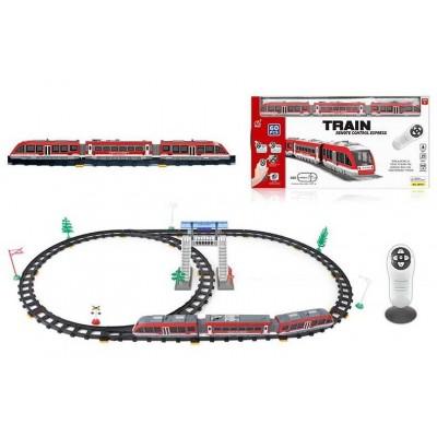 """Железная дорога на р/у 2811 Y (18/2) """"Экспресс"""", на батарейках, 60 элементов, длина путей 105 см, 2 локомотива, звук, свет, аксессуары, в коробке"""