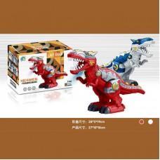 Динозавр 22124 (36/2) 2 цвета, на батарейках, 27 см, ходит, высиживает яйца, подсветка корпуса, звук, в коробке