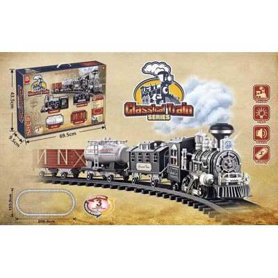"""Железная дорога 3072 (8) """"Паровоз"""", на батарейках, 16 элементов, длина путей 206 см, 3 вагона, дым, звук, подсветка прожектора, в коробке"""